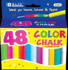 Wholesale BAZIC Assorted Color Chalk (48/Box)