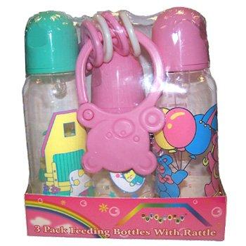 Wholesale 4 Piece Bottle/keys Baby Gift Set Asst Colors