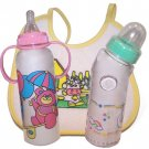 Wholesale 3 Piece Bottle/Bib Baby Gift Set Asst Colors