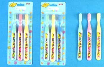 Wholesale 3 Pk Printed Toothbrushes