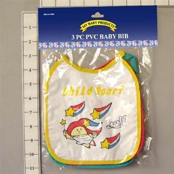 Wholesale 3Pc Pvc Baby Bibs