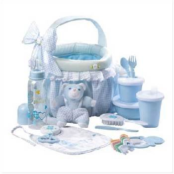 Wholesale Blue Baby Soft Basket Gift Set