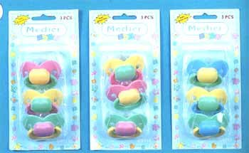 Wholesale 3-Piece Pacifiers In 3-Tone Colors