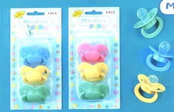 Wholesale 3-Pack Pacifiers In Solid Colors