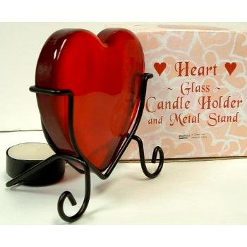 Glass Heart Candle Holder