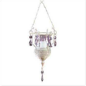 Distressed White Metal Hanging Votive Holder