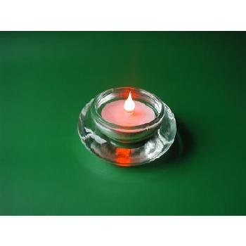 Bevelled LED Candle w/ Clear Holder