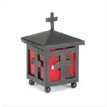 Red Metal Cross Votive Holder