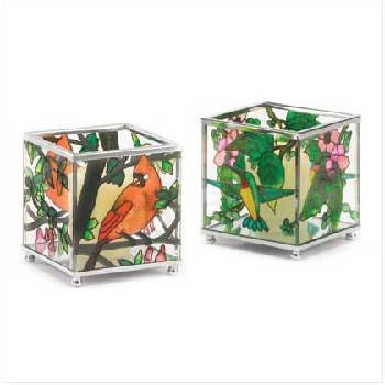 Birds Stained Glass Votive Holder