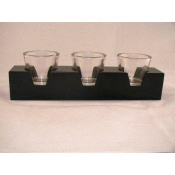 3 Glass Candle Holders on Wooden Base