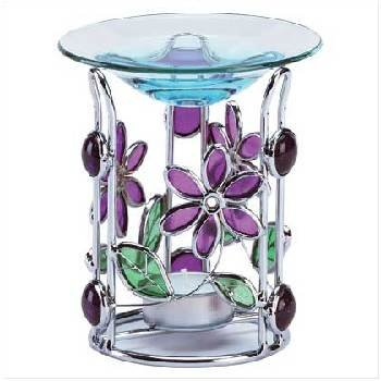 Wholesale Stained Glass Floral Tealight Oil Warmer