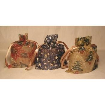 Wholesale Christmas Print Organza Bag w/Oval Candle