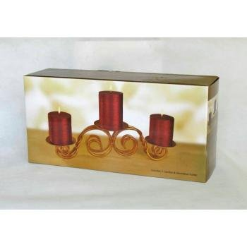 NEW! Wholesale 3pk Red Pillar Candle Set with Scrolled Holder