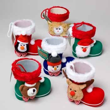 Wholesale Christmas Flocked Boots with Head