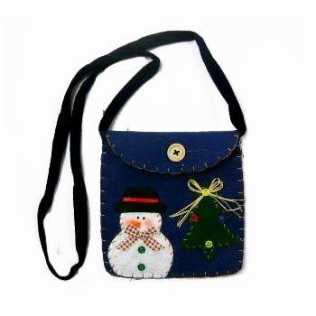 Wholesale Felt Snowman Shoulder Bag with Velcro Closure