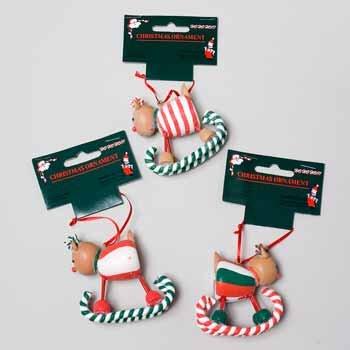 Wholesale Clay Reindeer Rocker Ornaments