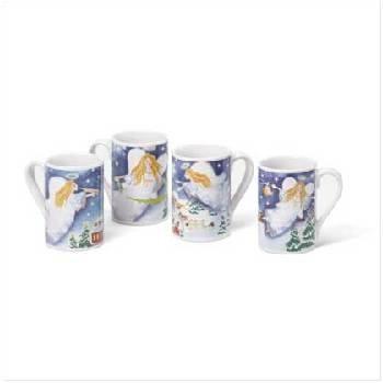 Wholesale Set Of 4 Christmas Angel Mug