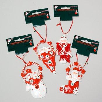 Wholesale CLAY ORN RED/WHITE SANTA/BEAR/