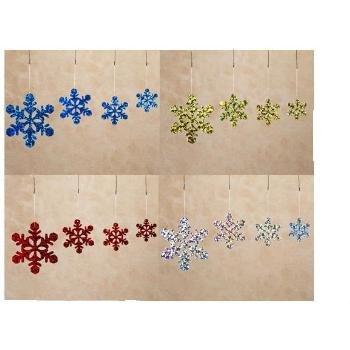 Wholesale Hologram Snowflake Flat Ornaments 4 Colors