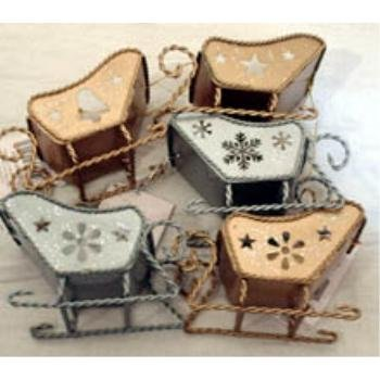 NEW! Wholesale Metal Sleigh Ornament Assortment