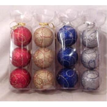 NEW! Wholesale Glitter Christmas 3pk Bulb Assortment