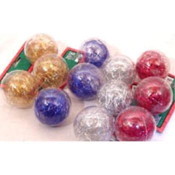 NEW! Wholesale 3PK Tinsel Ball Ornament Assortment