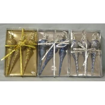 """NEW! Wholesale 8.25"""" Finial Christmas Ornament 3 Pack"""