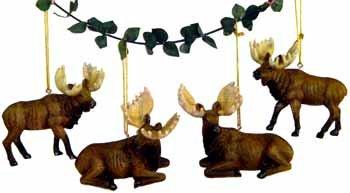 Wholesale Moose Ornament, 4 Asst.