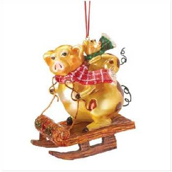 Wholesale Christmas Golden Pigs Ornament
