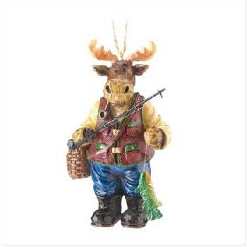 Wholesale Moose with Fishing Pole Ornament