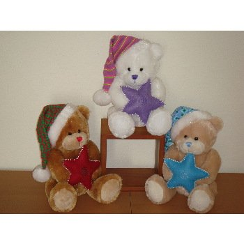 "Wholesale 8"" 3 Asst. Color Bears Holding Star"