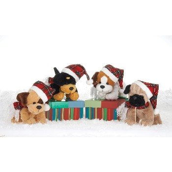 """Wholesale 7"""" 4 Assorted Dogs With Plaid Xmas Hat"""