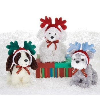 "Wholesale 6.5"" 3 Assorted Xmas Dogs With Antlers"