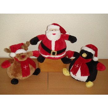 "Wholesale 7"" 3 Asst. Round Body BB Santa, Moose, Penguin"