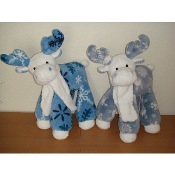 "Wholesale 15"" High Standing Mooses with Snowflake Trim"