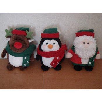"Wholesale 6.5"" 3 Asst. Fat Penguin, Santa, Reindeer"