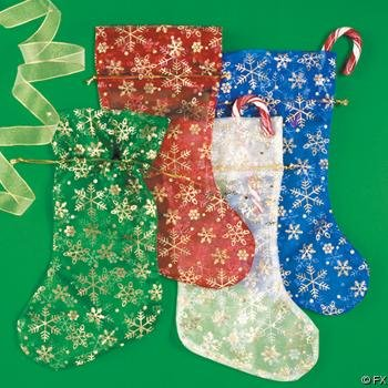 "Wholesale 11"" Sheer Mesh Snowflake Stockings"