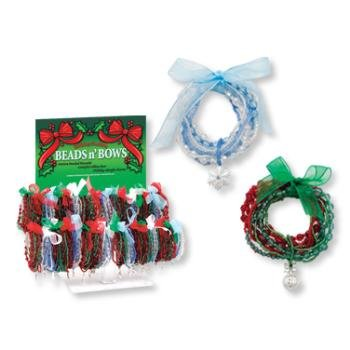 "Wholesale ""Beads n' Bows"" Holiday Multi-Strand Bracelet"