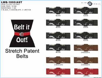 Wholesale Ladies Stretch Patent Belts