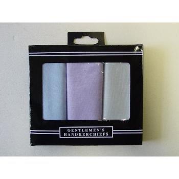 Wholesale Mens 100% Cotton 3 Pack Handkerchief in colors