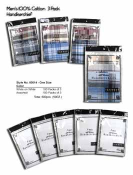 Wholesale Men's Cotton 3pk Handkerchiefs