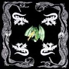 Wholesale Green Fire Dragon Bandanas - Dozen Packed 22x22