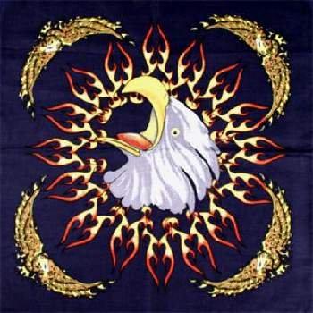 Wholesale Flaming Eagle Bandanas - Dozen Packed 22x22