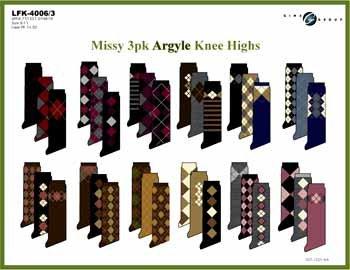 Wholesale Missy 3 Pk Argyle Knee Highs
