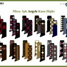 Wholesale Missy 3 Pk Argyle Knee Highs