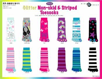 Wholesale Glitter Non-Skid 1 Pk Toe Socks