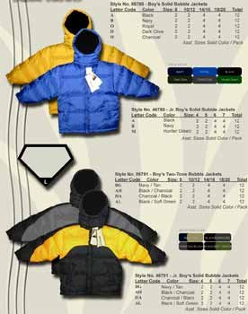 Wholesale Boy's Down Filled Contrast Color Bubble Jacket