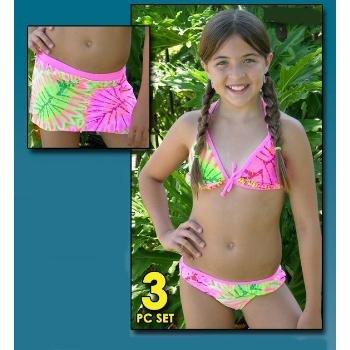 Wholesale Girl's Three Piece Swim Suit Set