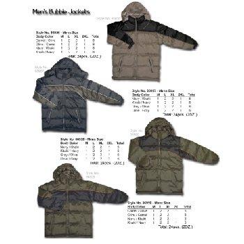 Wholesale Men's Two-Tone Poly Fill Nylon Bubble Jackets