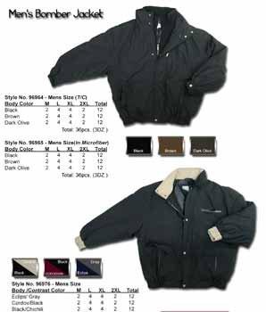 Wholesale Men's Microfiber Poly Fill Bomber Jacket